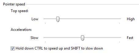 pointer speed control