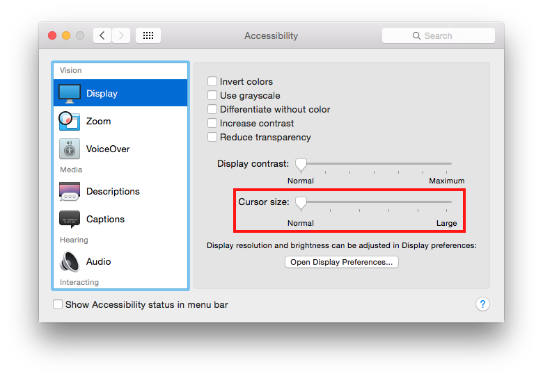 Apple OS X 10 10 Yosemite - Making your mouse pointer larger