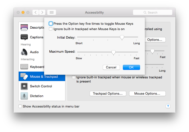 Apple OS X 10 10 Yosemite - Using the keyboard to control the mouse