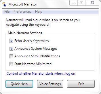 Windows 7 - Making your computer talk using Windows Narrator