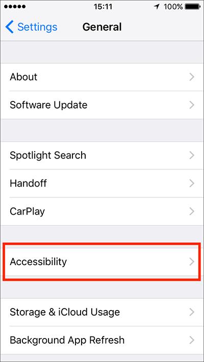Accessibility Shortcut (Triple-click Home) – iPhone/iPad