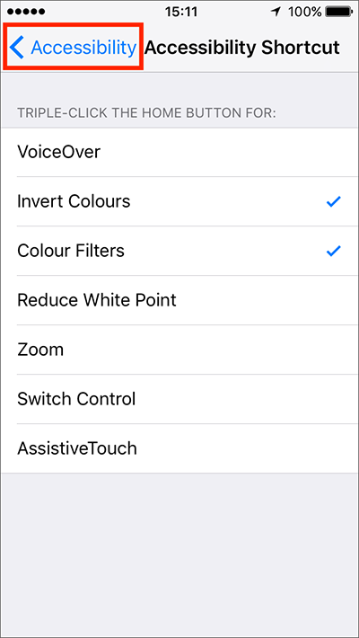 Accessibility Shortcut (Triple-click Home) – iPhone/iPad/iPod Touch