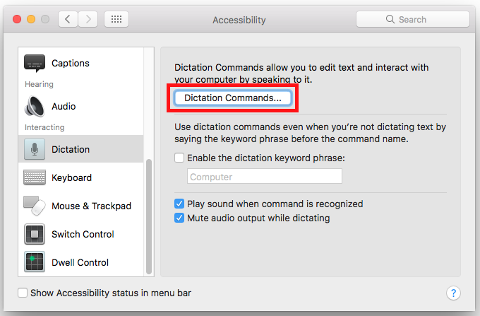 macOS 10 12 Sierra – Using voice commands | My Computer My Way