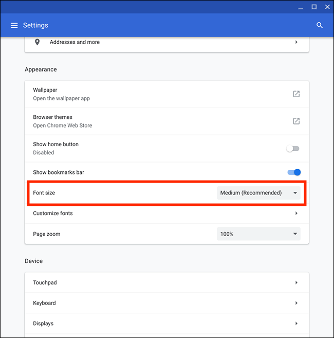 Advanced Font Settings Chrome