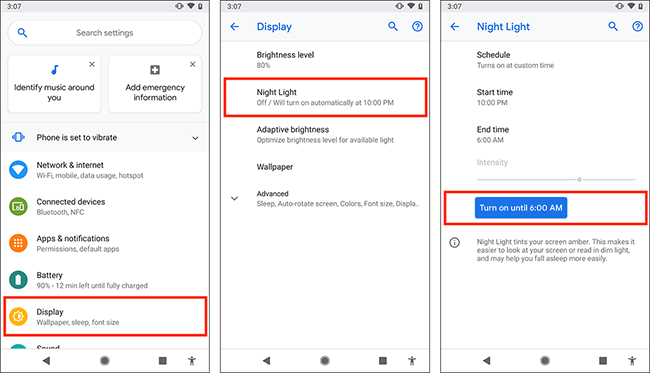 How to reduce the intensity of blue light in Android Pie