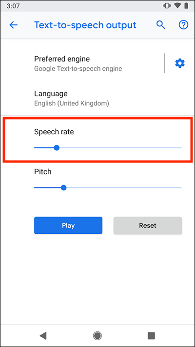 How to change the text-to-speech (TTS) settings for screen