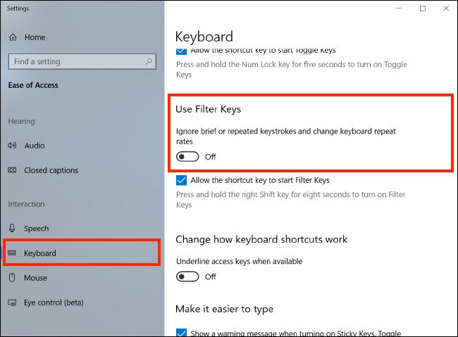 Windows 10 – Changing keyboard settings using Filter Keys | My Computer My  Way